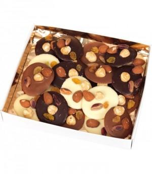 28 Mendiants de chocolat noir lait et blanc - 200g